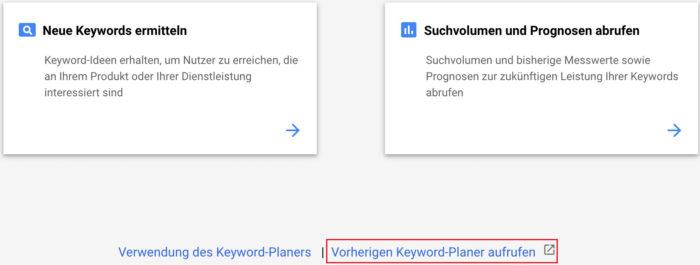 Um SEO Keywords bezüglich des möglichen Traffics zu überprüfen, sollte unten der vorherige Keyword-Planer aufgerufen werden.